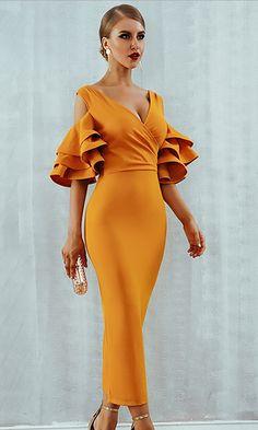 Amal Bandage Kleid-Mandarine - New Year Trendy Dresses, Elegant Dresses, Sexy Dresses, Nice Dresses, Fashion Dresses, Prom Dresses, Dress Prom, Formal Dress, Bandage Dresses