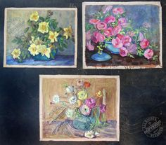 3 Fabulous MID CENTURY MoDerN Oil Painting 1950s blue yellow pink flowers SIGNED  | eBay From our repertoire of lovelies #Awesome #collectibles for creative thinkers.  #Ventura #California. #love #hugs #Kisses #repurpose #assemblage #art #collect #famous #fabulous #treasure #hope #play #makingstuff #dreamy #wishes #favoritethings #boy #girl #men #women  #vintage #gifts #design #retro #flowers #midcentury #oilpaingings