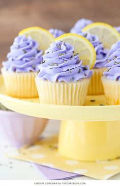 Lemon Lavender Cupcakes – easy lemon cupcakes with lavender buttercream frosting, topped with lavender flowers and fresh lemon slices. A new cupcake recipe by our contributor, Lindsay Conchar. Lemon Cupcakes, Yummy Cupcakes, Spring Cupcakes, Strawberry Cupcakes, Key Lime Cupcakes, Healthy Cupcakes, Mocha Cupcakes, Pretty Cupcakes, Banana Cupcakes