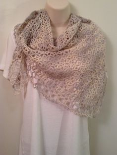 Pearl/Gray and White Lace Crochet Shawl by SueAnnesKnitShoppe on Etsy