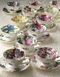 Tea cups - looks like a tea party waiting to happen. Vintage Dishes, Vintage Tea, Vintage China, Teapots And Cups, Teacups, China Tea Cups, Tea Service, My Cup Of Tea, Tea Cup Saucer