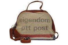 Cowboysbag Ladies Bag Post NL Shopper, Henkeltasche aus Postsäcken, Beige/Cognac, 51x35x9 cm (B x H x T)