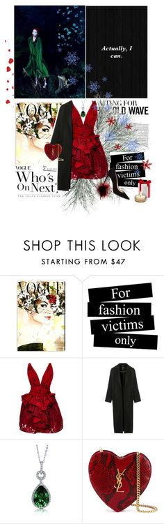 """""""New Year"""" by abella07 ❤ liked on Polyvore featuring Oliver Gal Artist Co., Marchesa, Topshop, BERRICLE, Yves Saint Laurent and Jimmy Choo"""