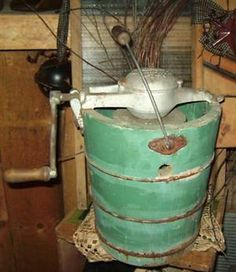 Vintage hand crank ice cream maker... the wait made the ice cream even better!!