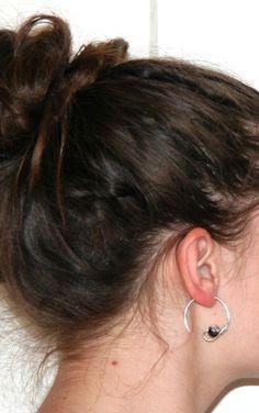 Boucles d'oreilles créoles - perle et aluminium