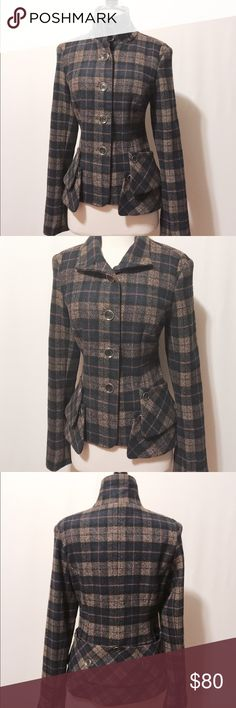 "🌀 Standout Style Navy & Tan Plaid Coat Stylish! Convertible stand collar, button front jacket. Great fitting with removal button band detail. Fully lined, perfect  jacket for the fall weather. 50% Wool 50% Poly Dry Clean 39"" bust 32"" waist 17"" shoulder 23"" overall length without band 26"" overall length with band (as shown) Jackets & Coats"
