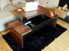I love DIY projects that help you get the most out of your space. So like every other  American I know, I eat most of my meals in front of the t.v.. how great is this http://www.ehow.com/how_6504266_convert-coffee-table-lift-top.html