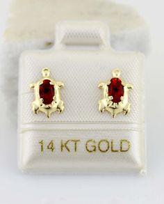 14K Gold Turtle Stud Earrings Turtle Stud Earring by Alyssasdreams