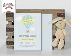 Baby Shower Invitation // Hot Air Balloon Invite // Gender Neutral // Yellow and Mint Green // Up, Up and Away // Printable, Digital, DIY by ThePrettyPaperStudio, $17.00