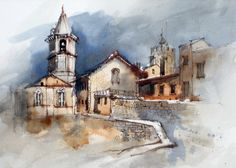 Limited palette painting of Pienza, Italy: Burnt Sienna and Ultramarine