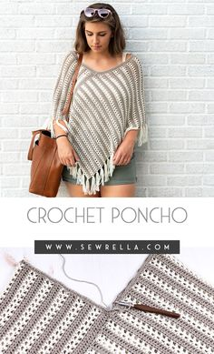 This easy duo poncho is made from two simple rectangles seamed together for the perfect layer you can wear year round! My free crochet pattern is a quick, beginner friendly project that you Crochet Scarves, Crochet Shawl, Crochet Clothes, Easy Crochet, Free Crochet Poncho Patterns, Crocheting Patterns, Crochet Woman, Knitted Poncho, Crochet Fashion