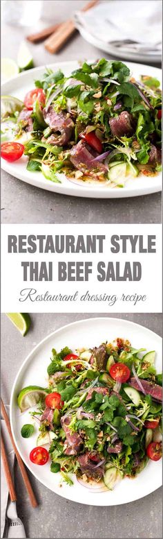 Thai Beef Salad (Restaurant Style) - one little change to the usual recipe to make a restaurant quality Thai Beef Salad (Healthy Recipes For One) Thai Recipes, Asian Recipes, Beef Recipes, Dinner Recipes, Cooking Recipes, Healthy Recipes, Healthy Breakfasts, Vegetable Recipes, Easy Recipes