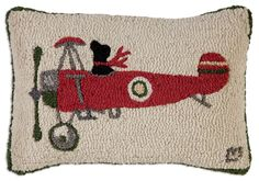 Airborne Dog Wool Hand Hooked Pillow Southern Elevation