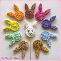 Easter Bunny (Plant) Stakes - Free Crochet Pattern / Easter Bunnies Flower Studs - Free Crochet Pattern (Natas Nest) - Easter Bunny (Plant) Stakes – Free Crochet Pattern / Easter Bunny Flower Plugs – Free Crochet P - Crochet Easter, Easter Crochet Patterns, Crochet Bunny Pattern, Crochet Motifs, Easy Knitting Projects, Easy Knitting Patterns, Crochet Projects, Knitting Needle Conversion Chart, Easter Bunny