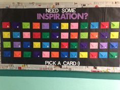 Inspirational Bulletin Board with quotes inside each brightly colored envelope :)