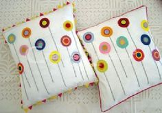 This crafted Applique Patchwork Embroidered Flower Top & bottom cambric Cushion Covers. Groomed up your room with this outstanding masterpiece of work. A look at them makes us understand the thorough & laborious work involved, not to mention days that one piece takes. This pair is assured to bring you lots of compliments, conversational piece of decoration that everyone's room needs.Handmade, Indian Luxury embroidered furnishings for Living Room, Dining Room, Bedrooms, Plagrooms a...