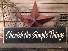Primitive Country Handmade Cherish The Simple Things Sign Home  Decor