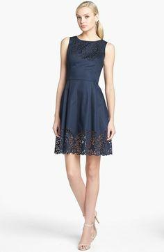 Betsey Johnson Laser Cut Denim Fit & Flare Dress