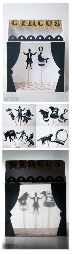 Circus shadow theater Kids craft perfect for a rainy day DIY: Shadow box puppet theater tutorial<br> Projects For Kids, Diy For Kids, Crafts For Kids, Arts And Crafts, Diy Paper, Paper Art, Paper Crafts, Diy Crafts, Shadow Theatre