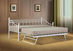 Single Metal Day Bed White Guest Bed with Trundle Mattress Option