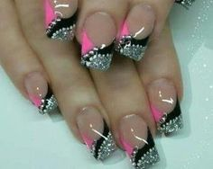 Silver - Pink - White dots - Black tips - Rhinestones by clarice