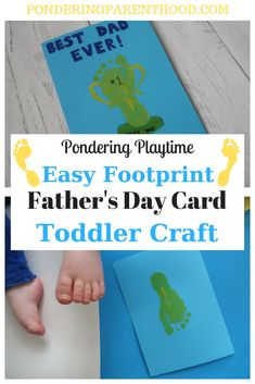 Show Daddy he's a champion with this super easy footprint father's day toddler craft activity, which makes a lovely homemade Father's Day card. Fathers Day Craft Toddler, Fathers Day Art, First Fathers Day, Easy Father's Day Gifts, Gifts For Kids, Baby Crafts, Toddler Crafts, Homemade Fathers Day Card, Fathersday Crafts