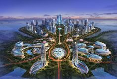 """Located on new artificail petal shaped island. Hainan Ocean Flower Resort is an amazing masterpiece of futuristic architecture to create a new 7 star """"water drop"""" hotel. Futuristic City, Futuristic Architecture, Fantasy City, Fantasy World, Future City, City Buildings, Modern Buildings, Fantasy Landscape, Landscape Design"""
