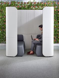 Designed by Australian Nick Tennant, Focus provides a quiet refuge for a private conversation or solo work time, absorbing outside noise and shielding the user from view. The units come equipped with power and data connections. Office Pods, Study Nook, Workplace, The Unit, Wellness, Desks, Office Furniture, Offices, Shelter