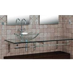 DreamLine Glass Wall-Mount Vanity Set - DRL-DLVG-2061. DreamLine Glass Wall-Mount Vanity for Single Vessel Sink - Clear Glass Top with Brackets - DRL-DLVG-2061 Transparent tempered glass countertop, one glass vessel sinks and a floor cabinet complete the design of this vanity. Th.. . See More Vanities at http://www.ourgreatshop.com/Vanities-C705.aspx