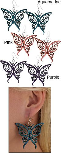 Colorful Wood Butterfly Earrings at The Breast Cancer Site. Uplift your spirits with a pair of pretty butterflies. The lightweight earrings are laser cut from wood for a precise and alluring finish.