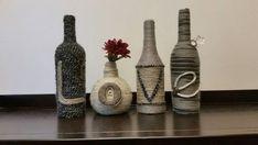 Items similar to Decorative Yarn Wrapped Bottles on Etsy Wine Bottle Crafts, Bottle Art, Yarn Wrapped Bottles, Glass Bottles, Twine, Origami, Diy Home Decor, Unique Jewelry, Handmade Gifts