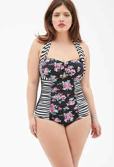 FOREVER 21+ Striped Floral One-Piece #plussize