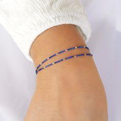 Skinny lapis lazuli bracelet in sterling silver or by Freesize