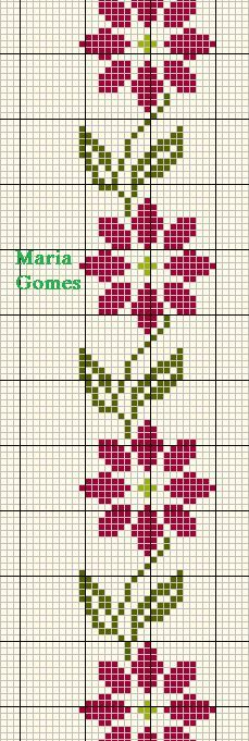 Linhas e Pontos: Os Meus Gráficos de Ponto Cruz Cross Stitch Bookmarks, Cross Stitch Borders, Cross Stitch Rose, Cross Stitch Flowers, Cross Stitch Designs, Cross Stitching, Cross Stitch Embroidery, Embroidery Patterns, Cross Stitch Patterns