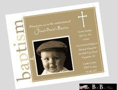 Baby Boy Baptism Invitation- Brown- Printable