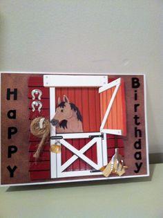 Bday Cards, Birthday Cards For Men, Fun Fold Cards, Folded Cards, Horse Cards, Scrapbook Cards, Scrapbooking, Horse Birthday, Verses For Cards