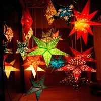 Name Handmade Paper Star Lampshade Lights Not Included Theme Halloween Christmas Festival Decora Paper Star Lanterns Paper Lanterns Star Lanterns