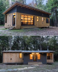 """Book of Cabins on Instagram: """"Cahill Cabin in #Vermont by @cushmandesigngroup   Photography by Derrick Barrett #BookOfCabins #PrefabNsmallhomes #CompactLiving #FABprefab…"""" Cabin Plans, Tiny House Plans, Vermont, Cabin Design, Tiny House Design, Container House Design, Tiny House Nation, Quick Garden, Side Bar"""