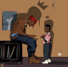 Tupac passes the rap movement to Kendrick Lamar! Arte Do Hip Hop, Hip Hop Art, Cartoon Kunst, Cartoon Art, Art Black Love, King Kendrick, To Pimp A Butterfly, Tupac Art, Tupac Lyrics