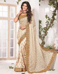 Cream & Golden Color Half Bhagalpuri & Half Net Function & Party Wear Sarees : Anaika Collection YF-31671
