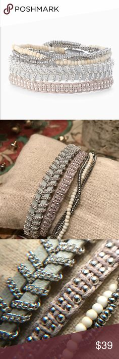 Stella & Dot Lola Wrap Bracelet The perfect neutral arm party all in one bracelet! Neutral beads mixed with shiny silver and leather form this newest trend in wrap bracelets.  Shiny Silver Plating Fits SM-LG wrists Button Closure Stella & Dot Jewelry Bracelets