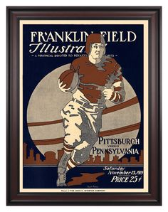 1919 Penn Quakers vs Pittsburgh Panthers 36x48 Framed Canvas Historic Football Poster