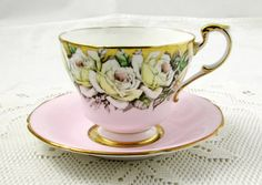 Pink Paragon Rose Garland Tea Cup and Saucer, Vintage Bone China