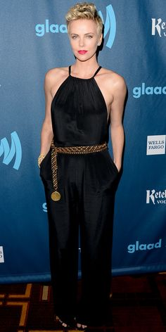 Charlize Theron brought the drama to the GLAAD Media Awards in a belted Jason Wu jumpsuit.