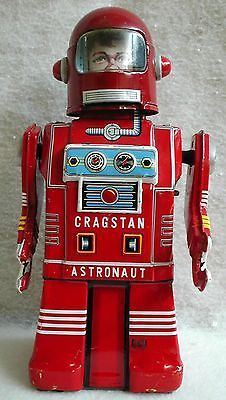 """Rare Cragstan """"Astronaut Robot"""", Tin Wind-up Toy . Made In Japan. c1950s.."""