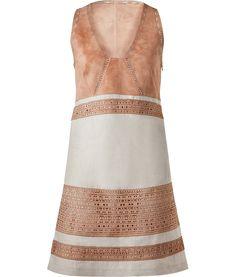 Derek Lam Sandalwood Perforated Leather/Linen Dress