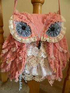shabby chic owl bag, so cute