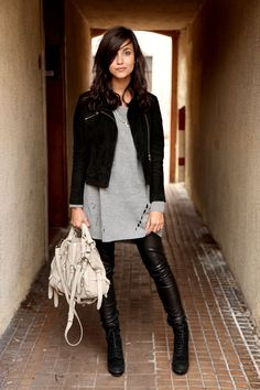 etpourquoipascoline - grey tunic, leather leggings and moto jacket.