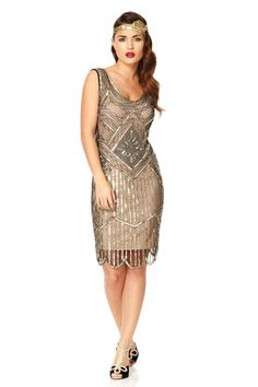 UK14 US10 AUS14 Black Nude Vintage inspired 20s vibe Flapper Great Gatsby Beaded Charleston Sequin Downton Abbey Wedding Dress New Hand Made