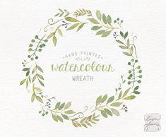 Watercolor wreath: painted floral wreath clipart / Wedding invitation clip art…